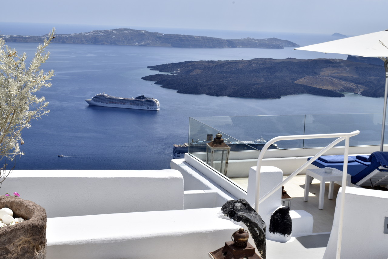 Iconic Santorini: view of volcano from terrace