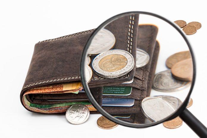 wallet magnifying glass euros