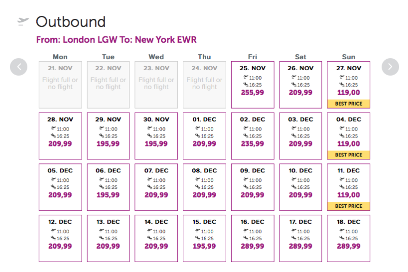 WOW air flights London to New York